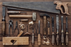 Vintage woodworking tools on the workbench