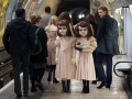 "EDITORIAL USE ONLY:  Two life-size Victorian style dolls shocked Londoners this morning as the creepy pair popped up at commuter hotspots across the capital to mark the launch of the world's first psychological theme park ride created by Derren Brown, coming to Thorpe Park Resort in 2016. Matt Alexander/ PA Wire Photo  Issue date: Thursday December 3, 2015. The incredibly realistic 4ft 7"" high 'living dolls' were played by two modelswho each spent over three hours being transformed by a top team of stylists, costume designers, make-up artists and dressers. The dolls were spotted at numerous venues in London including Charing Cross Tube Station, Oxford Street and Regent Street where they were seen carrying dolls and pushing an empty 1900's style pram. Visitors to the 'themed' experience at Thorpe Park Resort in 2016 will embark on a 13 minute journey, making the one-of-a-kind attraction a totally unique theme park experience."